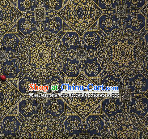 Asian Chinese Cheongsam Classical Pattern Navy Satin Drapery Brocade Traditional Brocade Silk Fabric