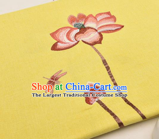 Asian Chinese Cheongsam Classical Embroidered Lotus Pattern Yellow Satin Drapery Brocade Traditional Brocade Silk Fabric
