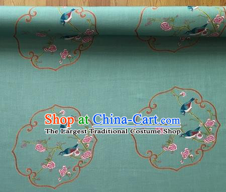 Asian Chinese Cheongsam Classical Roses Bird Pattern Green Satin Drapery Brocade Traditional Brocade Silk Fabric