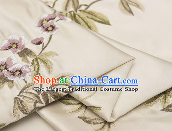 Asian Chinese Cheongsam Classical Embroidered Plum Pattern Beige Satin Drapery Brocade Traditional Brocade Silk Fabric