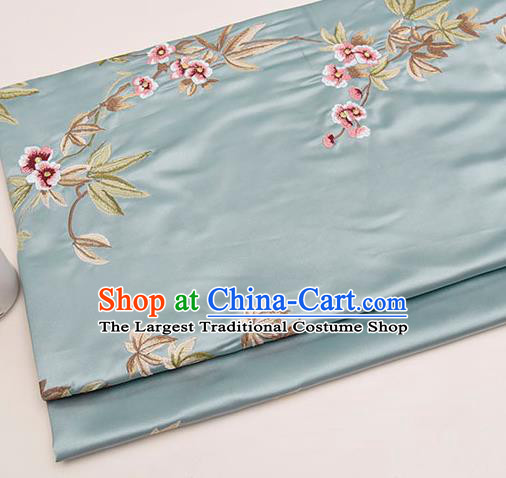 Asian Chinese Cheongsam Classical Embroidered Plum Pattern Light Blue Satin Drapery Brocade Traditional Brocade Silk Fabric