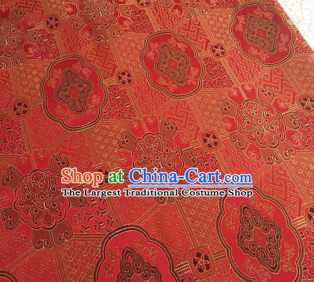 Asian Chinese Cheongsam Classical Lucky Pattern Red Satin Drapery Brocade Traditional Brocade Silk Fabric