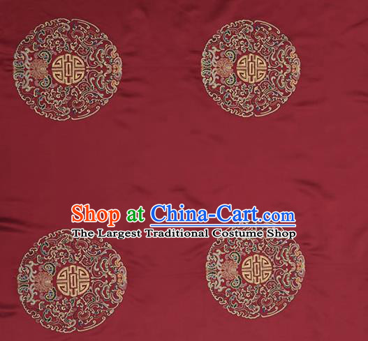 Asian Chinese Cheongsam Classical Embroidered Lucky Pattern Wine Red Satin Drapery Brocade Traditional Brocade Silk Fabric