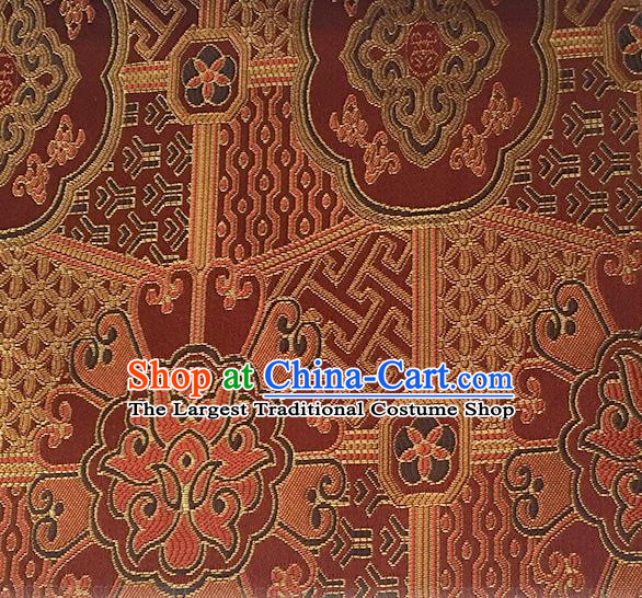 Asian Chinese Cheongsam Classical Lucky Pattern Wine Red Satin Drapery Brocade Traditional Brocade Silk Fabric