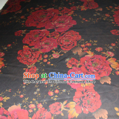 Chinese Traditional Cheongsam Classical Red Peony Pattern Gambiered Guangdong Gauze Asian Satin Drapery Brocade Silk Fabric