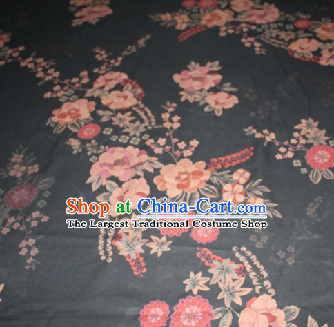Chinese Traditional Cheongsam Classical Daisy Pattern Black Gambiered Guangdong Gauze Asian Satin Drapery Brocade Silk Fabric