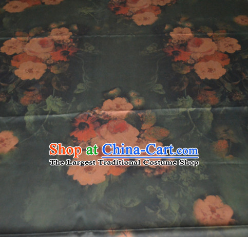 Chinese Traditional Cheongsam Classical Camellia Pattern Atrovirens Gambiered Guangdong Gauze Asian Satin Drapery Brocade Silk Fabric