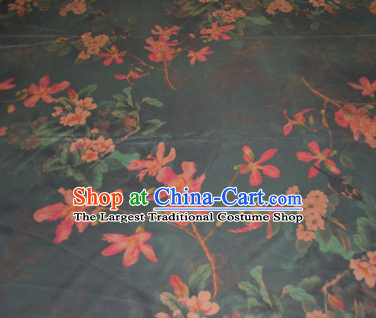 Chinese Traditional Cheongsam Classical Flowers Pattern Atrovirens Gambiered Guangdong Gauze Asian Satin Drapery Brocade Silk Fabric
