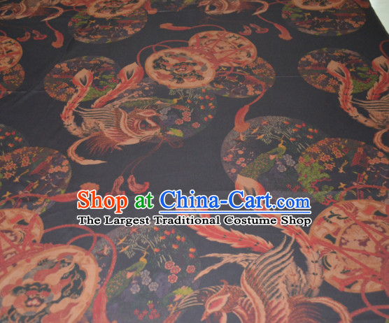 Chinese Traditional Cheongsam Classical Phoenix Pattern Black Gambiered Guangdong Gauze Asian Satin Drapery Brocade Silk Fabric