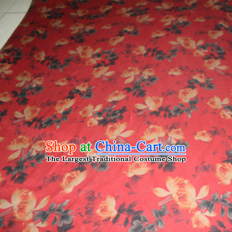 Chinese Traditional Cheongsam Classical Lotus Pattern Red Gambiered Guangdong Gauze Asian Satin Drapery Brocade Silk Fabric