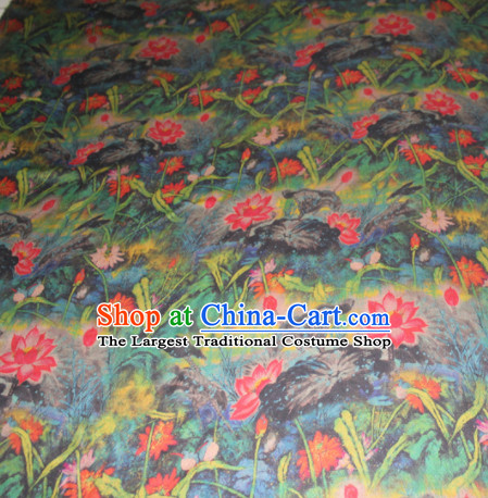 Chinese Traditional Cheongsam Classical Red Lotus Pattern Gambiered Guangdong Gauze Asian Satin Drapery Brocade Silk Fabric