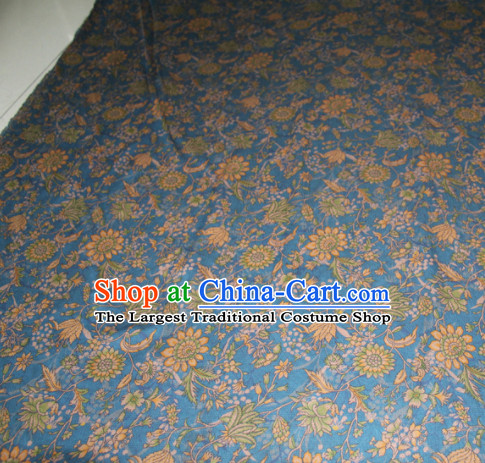 Chinese Traditional Cheongsam Classical Sunflowers Pattern Blue Gambiered Guangdong Gauze Asian Satin Drapery Brocade Silk Fabric