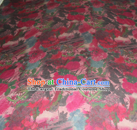 Chinese Traditional Cheongsam Classical Peony Pattern Rosy Gambiered Guangdong Gauze Asian Satin Drapery Brocade Silk Fabric