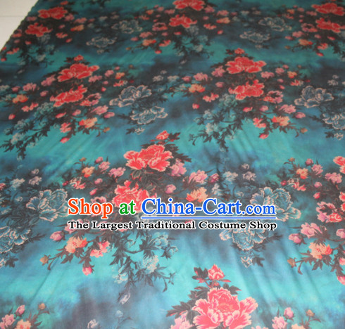 Asian Chinese Cheongsam Classical Peony Pattern Green Gambiered Guangdong Gauze Satin Drapery Brocade Traditional Brocade Silk Fabric