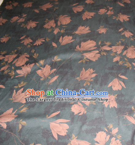 Asian Chinese Cheongsam Classical Yulan Magnolia Pattern Olive Green Gambiered Guangdong Gauze Satin Drapery Brocade Traditional Brocade Silk Fabric