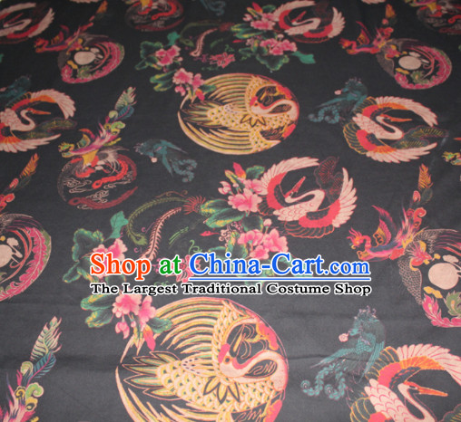 Chinese Traditional Cheongsam Classical Cranes Pattern Black Gambiered Guangdong Gauze Asian Satin Drapery Brocade Silk Fabric