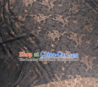 Chinese Traditional Cheongsam Classical Dragons Pattern Black Gambiered Guangdong Gauze Asian Satin Drapery Brocade Silk Fabric