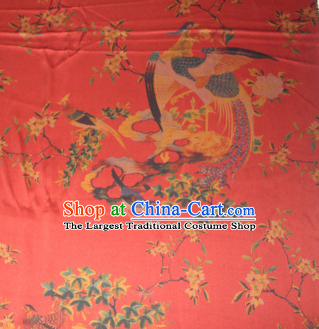 Chinese Traditional Cheongsam Classical Phoenix Pattern Red Gambiered Guangdong Gauze Asian Satin Drapery Brocade Silk Fabric