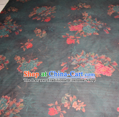 Chinese Traditional Cheongsam Classical Peony Pattern Atrovirens Gambiered Guangdong Gauze Asian Satin Drapery Brocade Silk Fabric