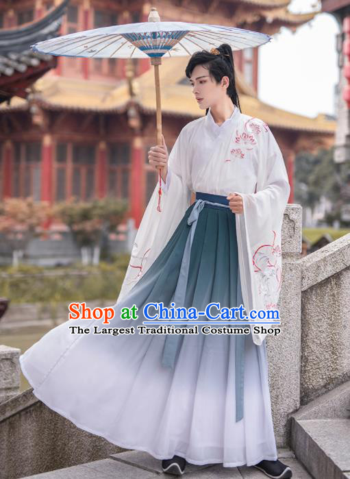 Chinese Ancient Nobility Childe Hanfu Clothing Antique Traditional Jin Dynasty Scholar Historical Costume for Men