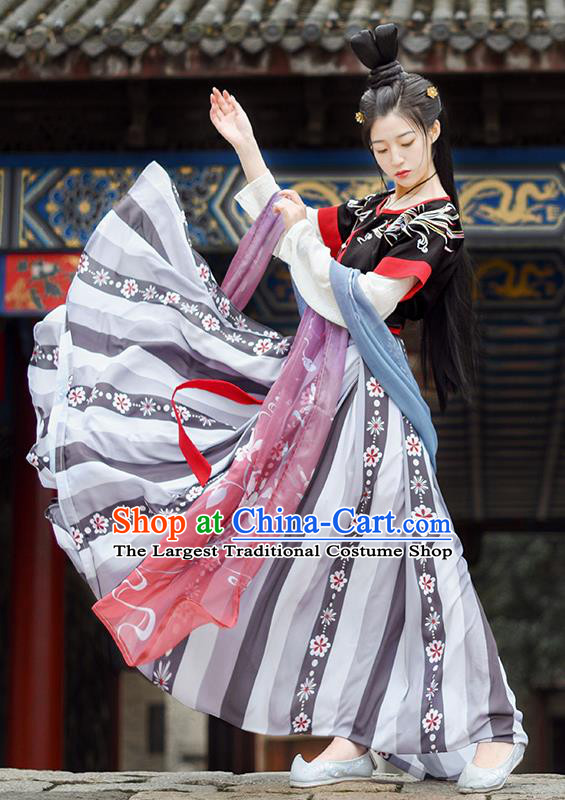 Chinese Ancient Tang Dynasty Court Maid Hanfu Dress Antique Traditional Palace Princess Historical Costume for Women