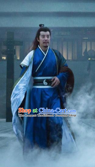 Chinese Ancient Taoist Priest Clothing The Legend of Deification Shang Dynasty Prime Minister Shen Gongbao Historical Costume and Headpiece