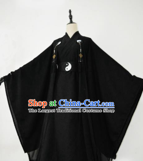 Customized Chinese Cosplay Swordsman Taoist Priest Black Costume Ancient Drama Childe Clothing for Men