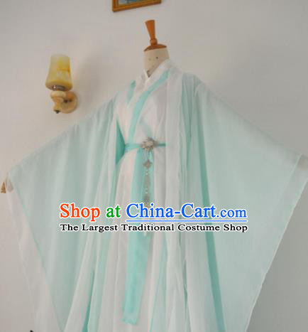 Chinese Customized Traditional Cosplay Taoist Green Costume Ancient Drama Childe Swordsman Clothing for Men