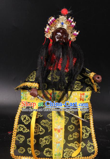 Traditional Chinese Handmade General Black Marionette Puppets Old Men Puppet String Puppet Wooden Image Arts Collectibles