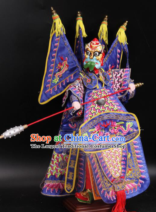 Traditional Chinese Handmade Purple Armor General Puppet Marionette Puppets String Puppet Wooden Image Arts Collectibles