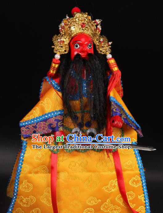 Traditional Chinese Handmade General Yellow Marionette Puppets Old Men Puppet String Puppet Wooden Image Arts Collectibles