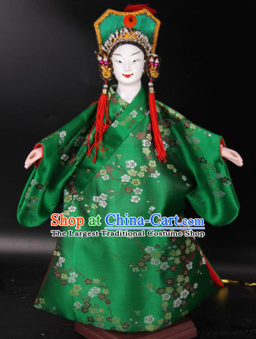 Traditional Chinese Handmade Green Robe Niche Puppet Marionette Puppets String Puppet Wooden Image Arts Collectibles