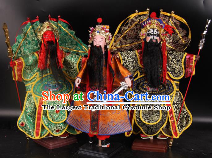 Traditional Chinese Handmade Liu Bei Guan Yu Zhang Fei Puppet Marionette Puppets String Puppet Wooden Image Arts Collectibles