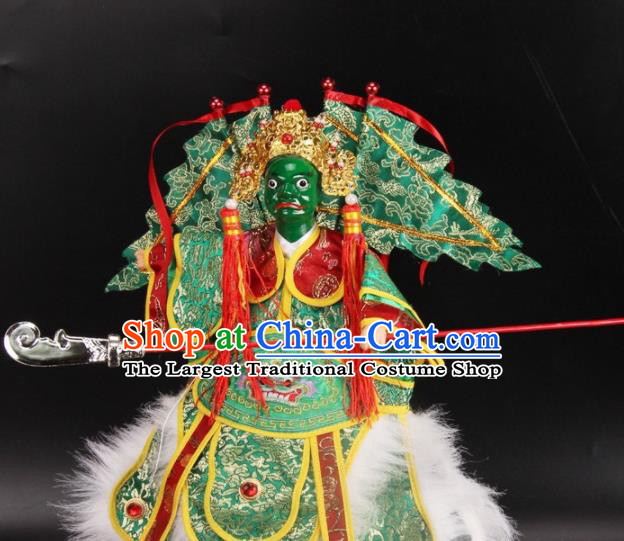 Traditional Chinese Handmade Green Armor Takefu Puppet Marionette Puppets String Puppet Wooden Image Arts Collectibles