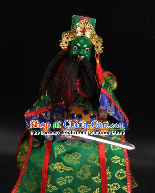 Traditional Chinese Handmade General Green Marionette Puppets Old Men Puppet String Puppet Wooden Image Arts Collectibles