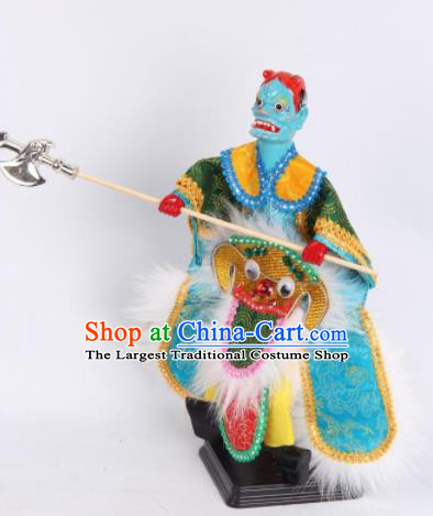 Traditional Chinese Handmade Green Clothing Takefu Puppet Marionette Puppets String Puppet Wooden Image Arts Collectibles