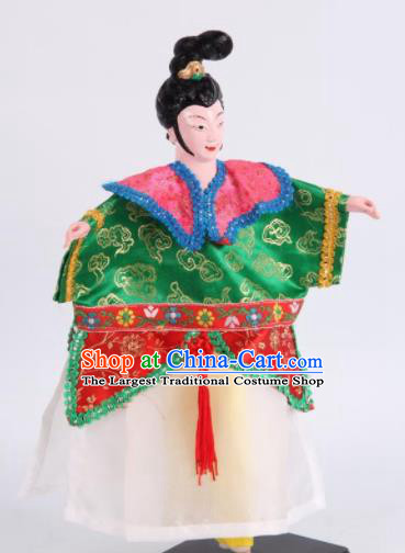 Traditional Chinese Handmade Green Dress Diva Puppet Marionette Puppets String Puppet Wooden Image Arts Collectibles