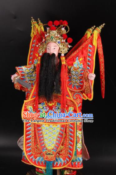 Traditional Chinese Handmade Red Armor Liu Bei Puppet Marionette Puppets String Puppet Wooden Image Arts Collectibles