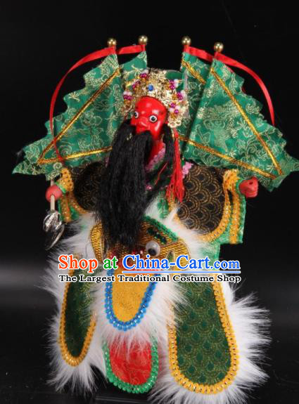 Traditional Chinese Handmade Green Armor General Puppet Marionette Puppets String Puppet Wooden Image Arts Collectibles