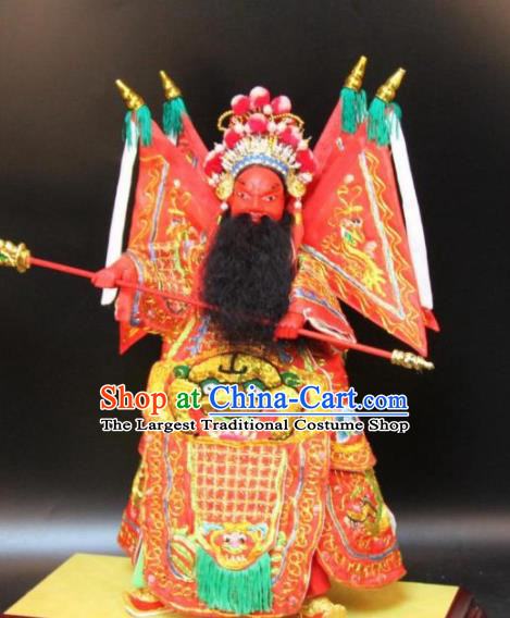Traditional Chinese Handmade Red Armor Guan Yu Puppet Marionette Puppets String Puppet Wooden Image Arts Collectibles