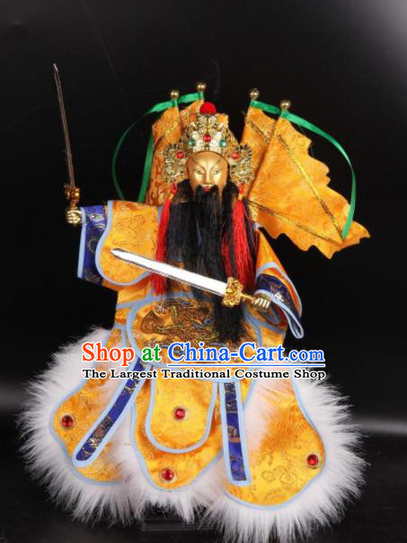 Traditional Chinese Handmade Yellow Clothing Takefu Puppet Marionette Puppets String Puppet Wooden Image Arts Collectibles