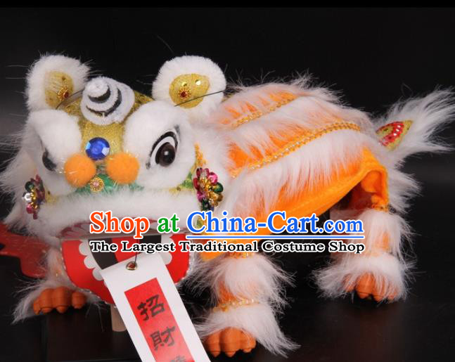Traditional Chinese Handmade Yellow Lion Puppet Marionette Puppets String Puppet Wooden Image Arts Collectibles
