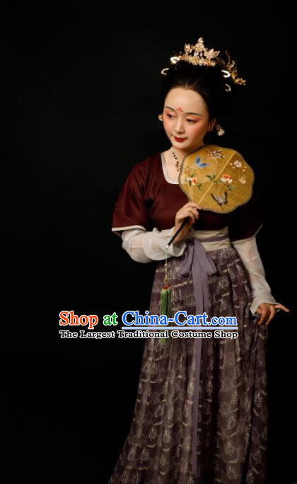 Chinese Traditional Tang Dynasty Imperial Consort Hanfu Dress Ancient Drama Court Lady Replica Costumes for Women