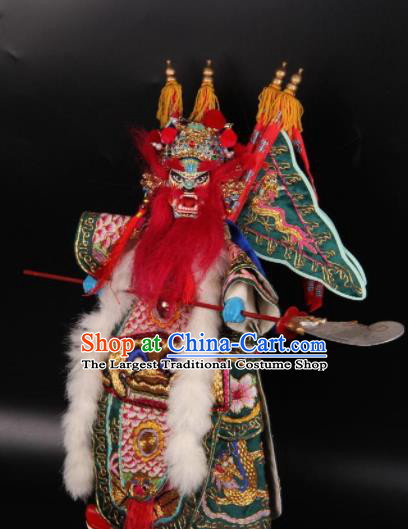 Traditional Chinese Handmade Green Clothing General Puppet Marionette Puppets String Puppet Wooden Image Arts Collectibles