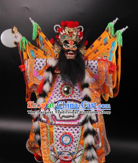 Traditional Chinese Handmade Yellow Clothing General Puppet Marionette Puppets String Puppet Wooden Image Arts Collectibles