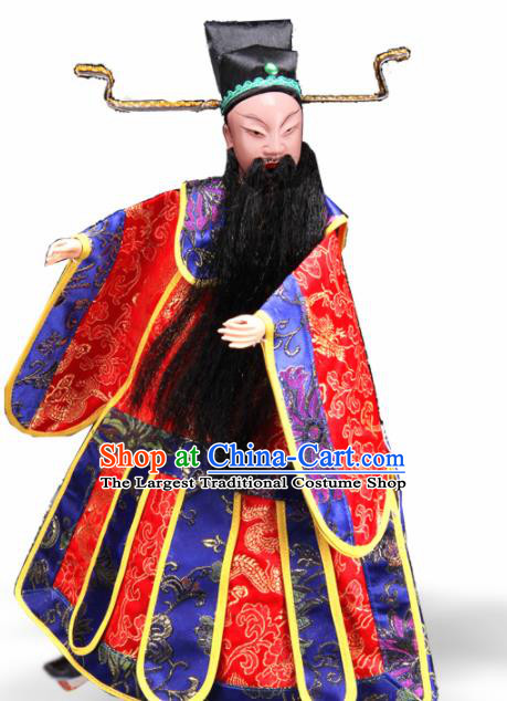 Traditional Chinese Handmade Red Clothing Prime Minister Puppet Marionette Puppets String Puppet Wooden Image Arts Collectibles