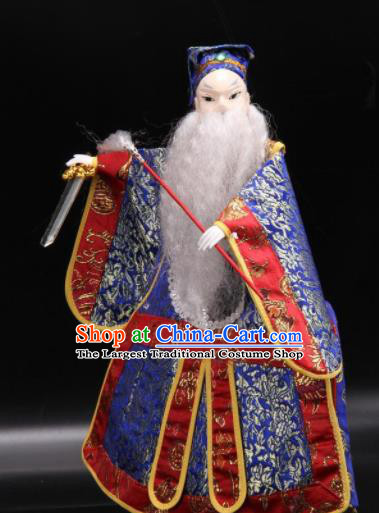 Traditional Chinese Handmade Blue Clothing Taoist Priest Puppet Marionette Puppets String Puppet Wooden Image Arts Collectibles