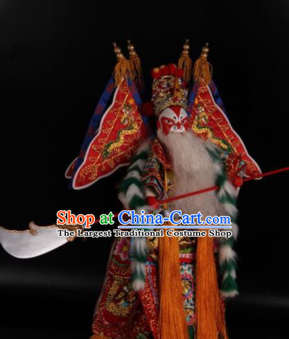 Traditional Chinese Handmade Red General Huang Gai Puppet Marionette Puppets String Puppet Wooden Image Arts Collectibles