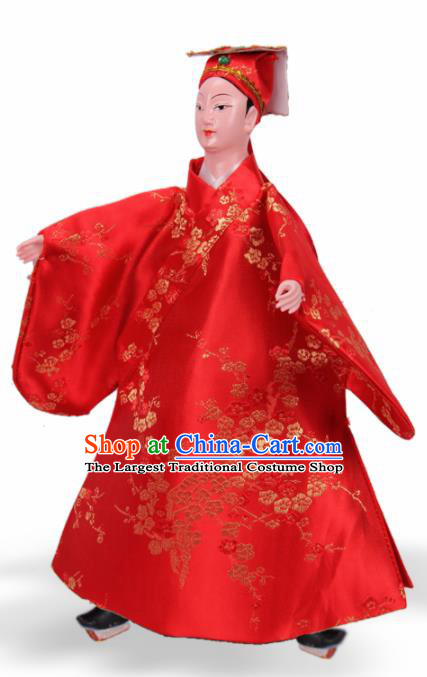 Traditional Chinese Handmade Red Robe Niche Puppet Marionette Puppets String Puppet Wooden Image Arts Collectibles