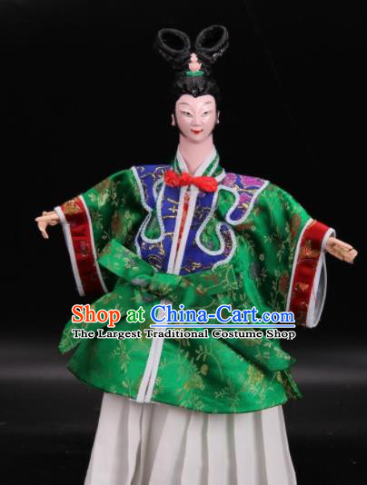 Traditional Chinese Handmade Green Dress Peri Puppet Marionette Puppets String Puppet Wooden Image Arts Collectibles